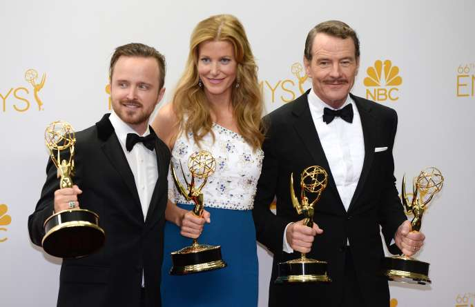 En 2014, les protagonistes de« Breaking Bad» :Aaron Paul (à gauche), Anna Gunn (au centre) et Bryan Cranston (à droite).