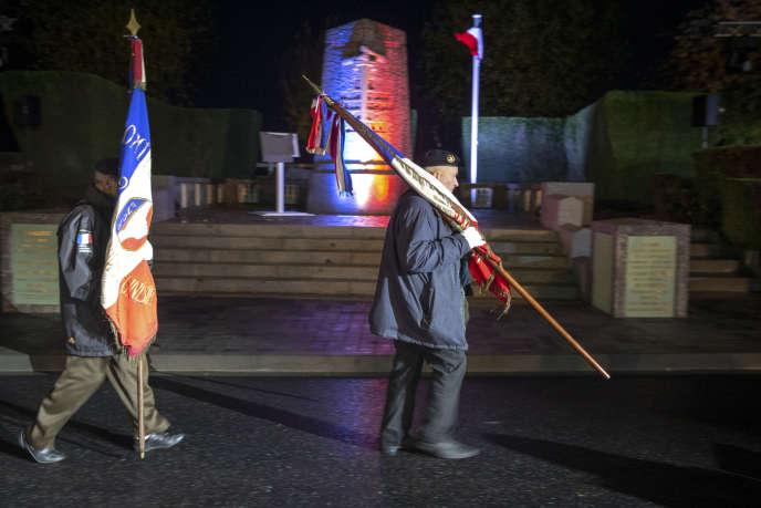 Cérémonie du souvenir, le 7 novembre à La Flamengrie (Meuse), où sonna le premier clairon du cessez-le-feu de la Grande Guerre le 7 novembre 1918.