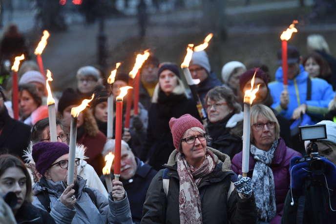 Rassemblement pour les femmes victimes d'agressions sexuelles, à Stockholm, le 14 janvier.