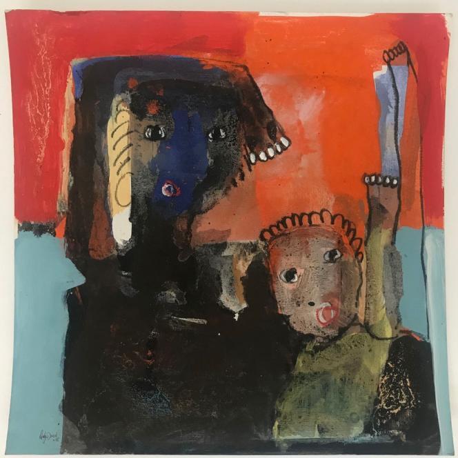 «Sans titre», d'Adjaratou Ouedraogo,2018. Acrylique, pigments, pastels sur papier, 51,5 x 51 cm.