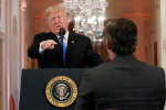 "U.S.  President Donald Trump points at CNN's Jim Acosta and accuses him of ""fake news"" while taking questions during a news conference following Tuesday's midterm congressional elections at the White House in Washington, U.S., November 7, 2018. REUTERS/Kevin Lamarque     TPX IMAGES OF THE DAY"