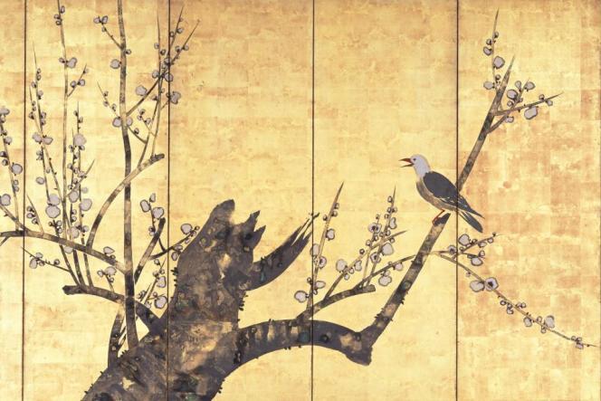Nakamura Hochu : «Oiseau sur une branche de prunier», paravent à six panneaux, couleurs sur feuille d'or, Musée Hosomi, Kyoto.