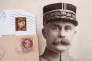 "Stamps and a portrait of French General Philippe Petain, published in the French newspaper ''L'Illustration"" on August 4, 1917 (R), are seen in this picture illustration taken November 8, 2018. REUTERS/Charles Platiau/Illustration"