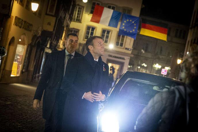Emmanuel Macron au premier jour de son «itinérance mémorielle», à Strasbourg, le4novembre.