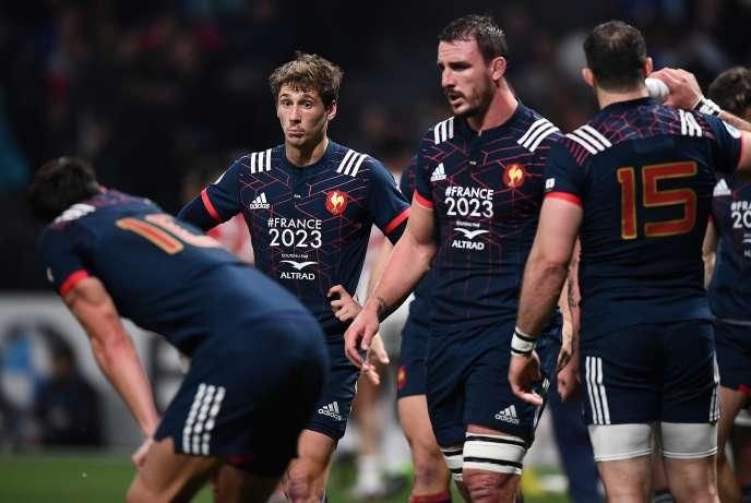 «La tournée de novembre va être un bon test », estime Baptiste Serin (deuxième en partant de la gauche), ici le 25 novembre 2017 à l'U Arena de Nanterre, lors de France-Japon.