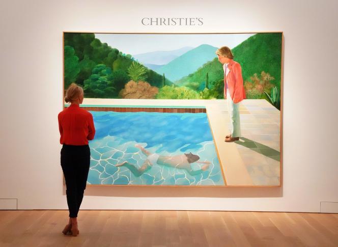 «Portrait of an Artist (Pool with two figures)», du Britannique David Hockney, lors de la présentation chez Christie's à New York.