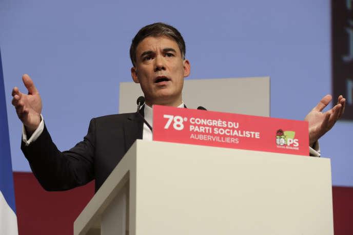 Le patron du PS, Olivier Faure, le 8 avril 2018 à Aubervilliers.