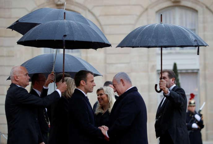 Emmanuel Macron et Benyamin Nétanyahou à Paris, le 11 novembre.
