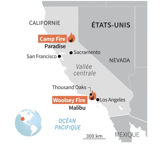 Carto des incendies en Californie, Camp fire et Woolsey fire, au 12 novembre 2018