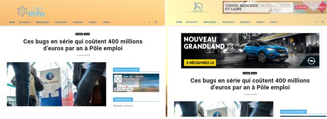 A gauche, un article du site Libre-Info.org. A droite, le même article sur Seelife.fr.