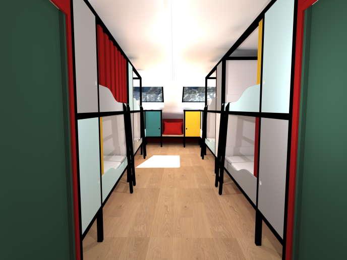 Les dortoirs accueillent de 6 à 10 personnes.