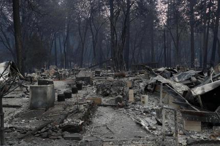 Vue de maisons détruites à Paradise, dimanche 11 novembre.