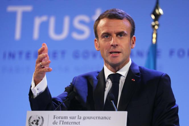 Emmanuel Macron lors de son discours à l'Internet Governance Forum, au siège de l'Unesco, à Paris,le 12 novembre.