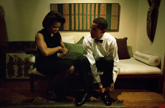 Michelle et Barack Obama, chez eux, à Chicago (Illinois), le 8 décembre 2004.