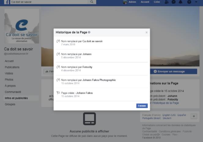Le premier nom de la page Facebook Ça doit se savoir était« Johann Fakra».