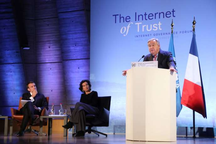 Le secrétaire général des Nations unies, Antonio Guterres, lors de l'ouverture du Forum sur la gouvernance de l'Internet, le 12novembre, à Paris.