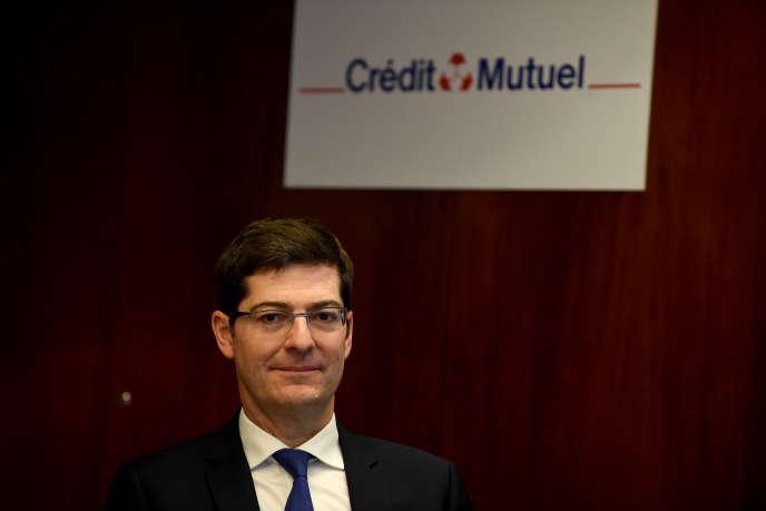 Le président du Crédit mutuel, Nicolas Thery, à Paris, le 7 mars.