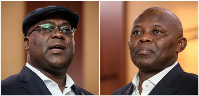 Félix Tshisekedi (g.) et Vital Kamerhe, poids lourds de l'opposition congolaise, à Genève, le 11novembre 2018.