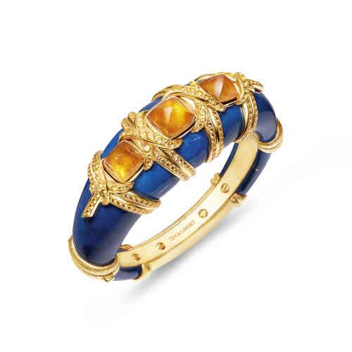 Bracelet Talismania (collection Trésors d'Afrique) en or jaune, grenats mandarins, saphirs jaunes et lapis-lazuli,Chaumet.