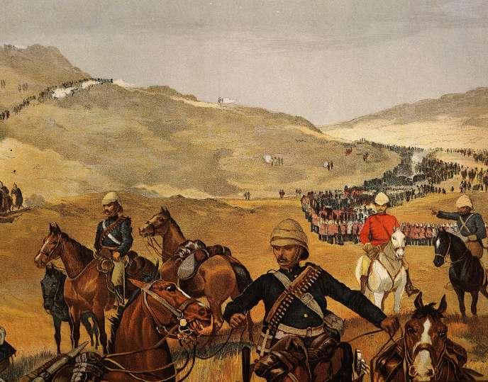 Marche des troupes britanniques du général Gordon vers Khartoum.