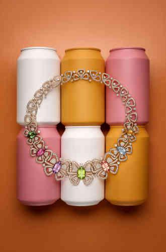 Collier Butterflies en or rose, topaze, rubellite, améthyste, péridot, tourmaline, aigue-marine, citrine et diamants, Bulgari.
