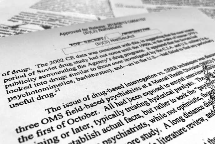 Extrait du rapport déclassifié de la CIA révélant l'existence d'un programme de recherche d'un« sérum de vérité», photographié le 13 novembre.