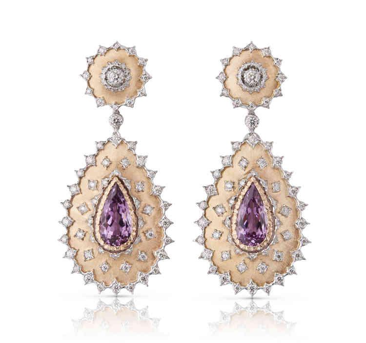 Boucles d'oreilles Budelli, deux ors, kunzites et diamants, Buccellati.