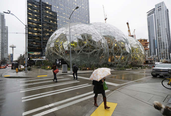 Amazon Headquarters, Seattle, January 2018. New headquarters, divided into two parts, will be seen in New York and Washington.