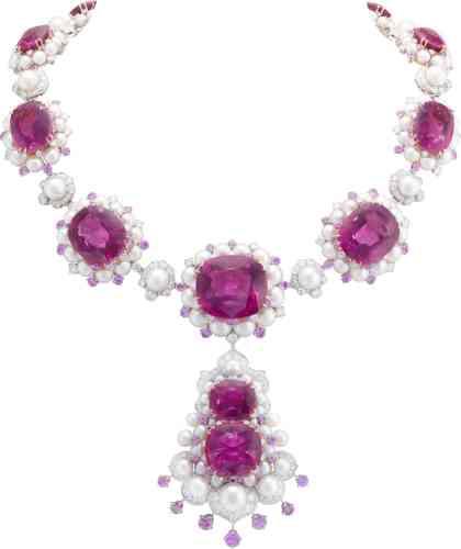 Collier Demoiselle gracieuse en or blanc, or rose, rubellites, saphirs roses, perles de culture et diamants, VanCleef & Arpels.