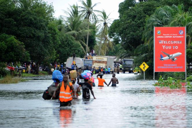 Inondation à Monrovia, au Liberia, le 1er juillet 2016.