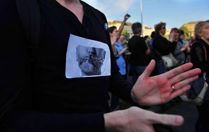 Manifestation pour la liberté de la presse, à Budapest, en juin 2014.