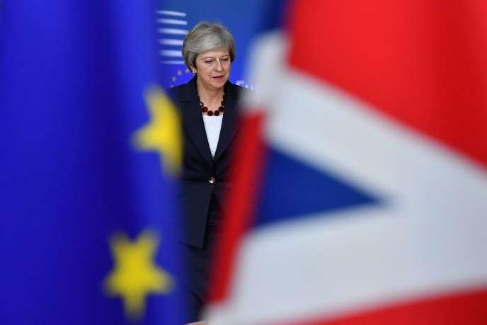 La première ministre britannique, Theresa May, au Conseil européen de Bruxelles, le 17 octobre.