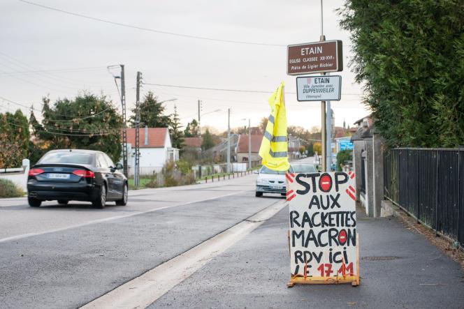 Le lieu de rassemblement du mouvement des «gilets jaunes»du 17 novembre, à Etain (Meuse), le 11 novembre.