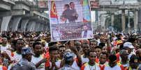 Les concurrents de la course pour la paix,la première course Ethiopie-Érythrée pour la paix et la réconciliation (10 km), sur la place Meskel à Addis-Abeba le 11 novembre 2018.