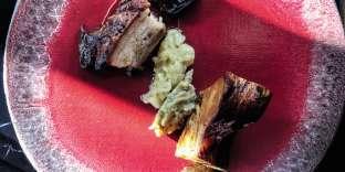 Le cochon grillé du Limousin avec des aubergines confites.