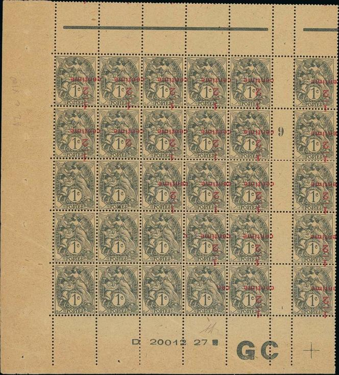Surcharges inversées attenant à des timbres sans surcharge, type« Blanc» (estimation 100000/200000 euros).