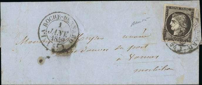 Premier jour d'utilisation du premier timbre de France, le 1er janvier 1849, estimé entre 5000 et 10000 euros.