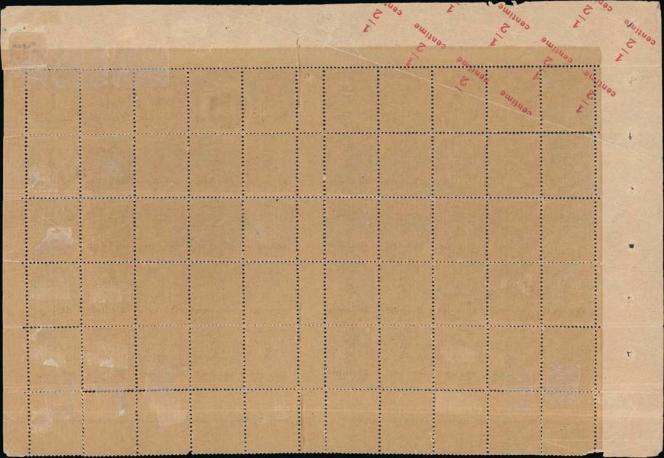 Recto de la feuille de timbre au type« Blanc» avec impression recto-verso de la surcharge (estimation 100000/200000 euros).
