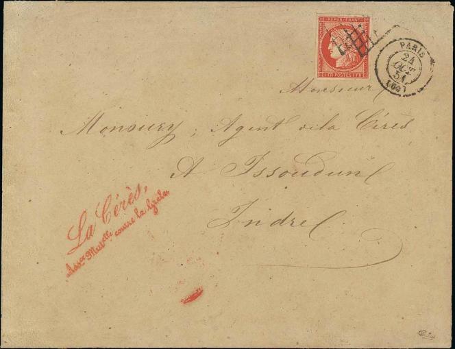 1 franc vermillon sur lettre (10 000/20 000 euros).