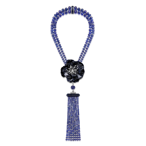 Collier Fleur de Nuit (collection Nature Triomphante) en perles de tanzanite, verre aventuriné et diamants, Boucheron.