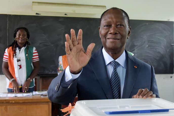 Le président ivoirien Alassane Ouattara, à Abidjan, le 13 octobre 2018.