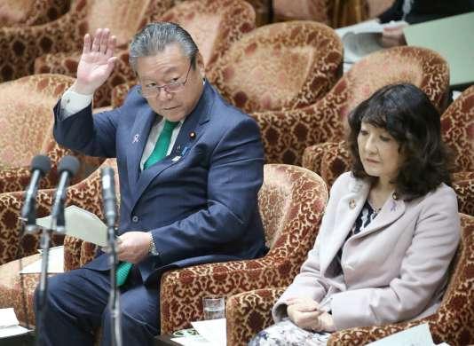 Yoshitaka Sakurada lors d'une session du Parlement à Tokyo, le 14 novembre.