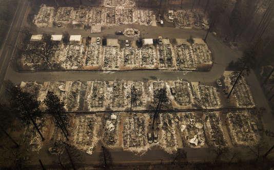 Vue aérienne de la ville de Paradise, détruite par les flammes de« Camp Fire», le 15 novembre.