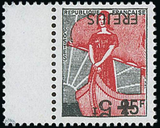 « Marianne à la nef», surcharge renversée, 800/1500 euros.