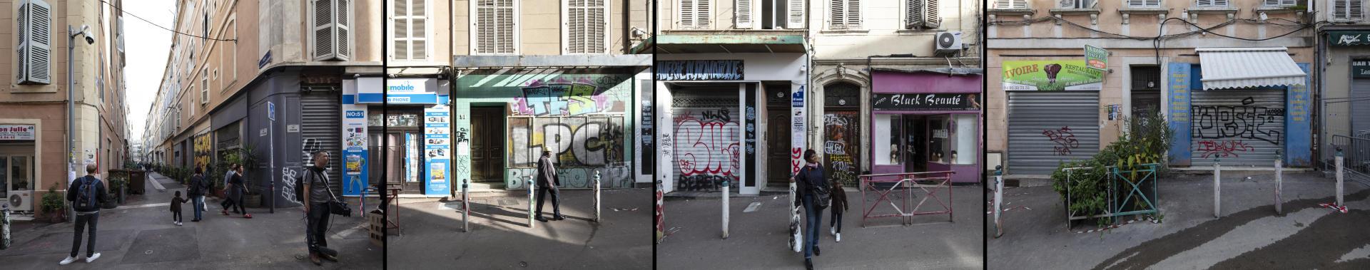 Remontée de la rue d'Aubagne, à Marseille, du numéro 51 au numéro 57, le 14 novembre. La zone d'effondrement est inaccessible.