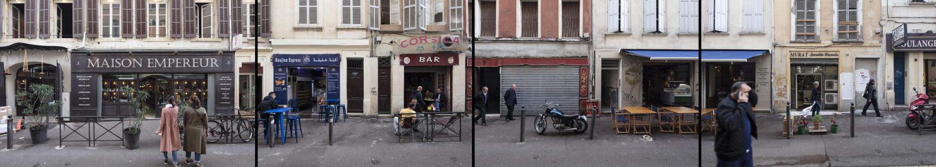 Remontée de la rue d'Aubagne, à Marseille, du numéro 3 au numéro 13, le 14 novembre. La zone d'effondrement, inaccessible, se situe entre les numéros 63 et 67.