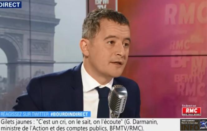 Gérald Darmanin sur le plateau de BFM-TV, le 16 novembre.