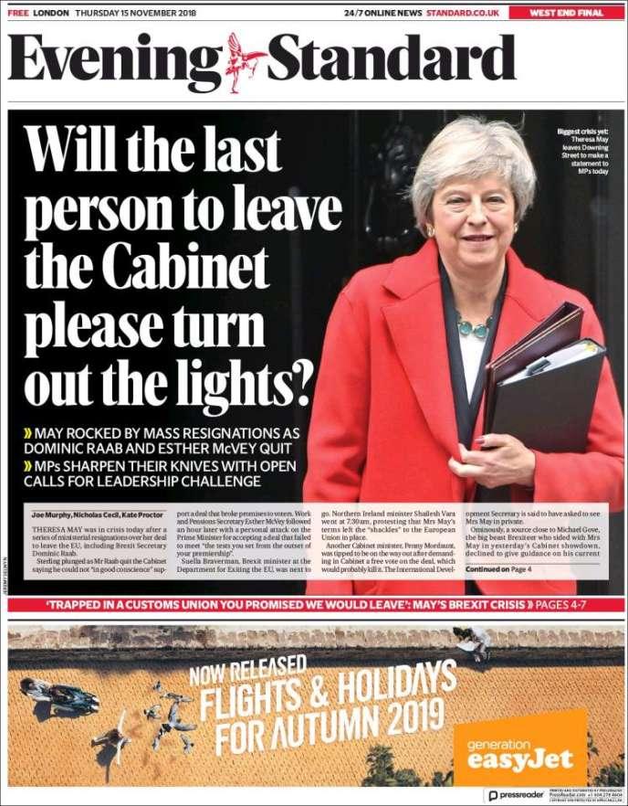 La« une» de l'« Evening Standard» du vendredi 16 novembre.