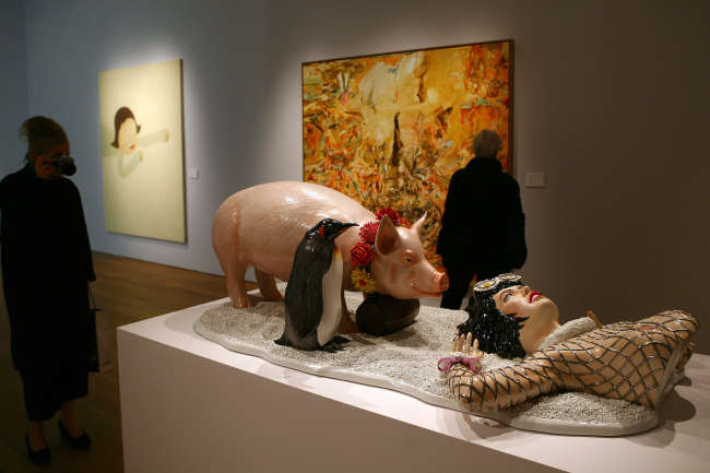 La sculpture «Fait d'hiver», deJeff Koons, chez Christie's, à New York, en 2007.