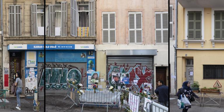 Mercredi 14 novembre, remontée de la rue d'Aubagne, à Marseille, du numéro 52 au numéro 60. La zone d'effondrement, inaccessible, commence sur la droite de l'image.